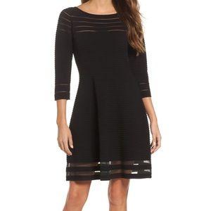 Eliza J black Mesh Fit & Flare sweater Dress 8564